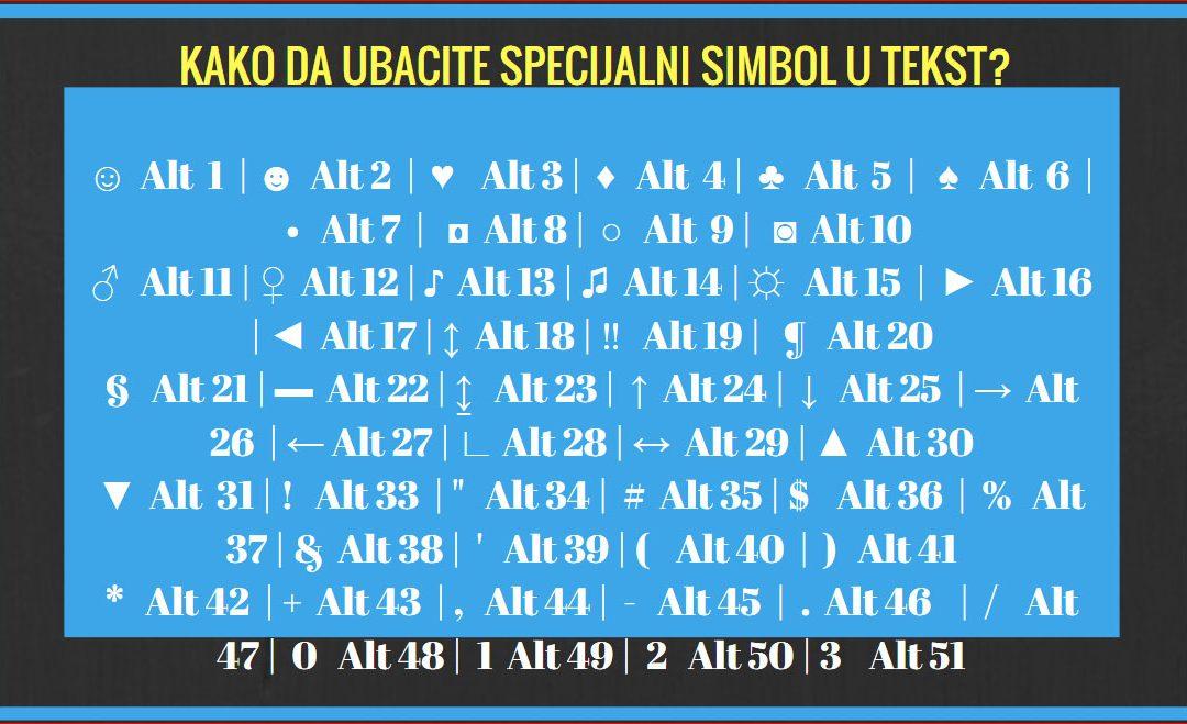 Znate li kako da ubacite specijalni simbol u tekst?